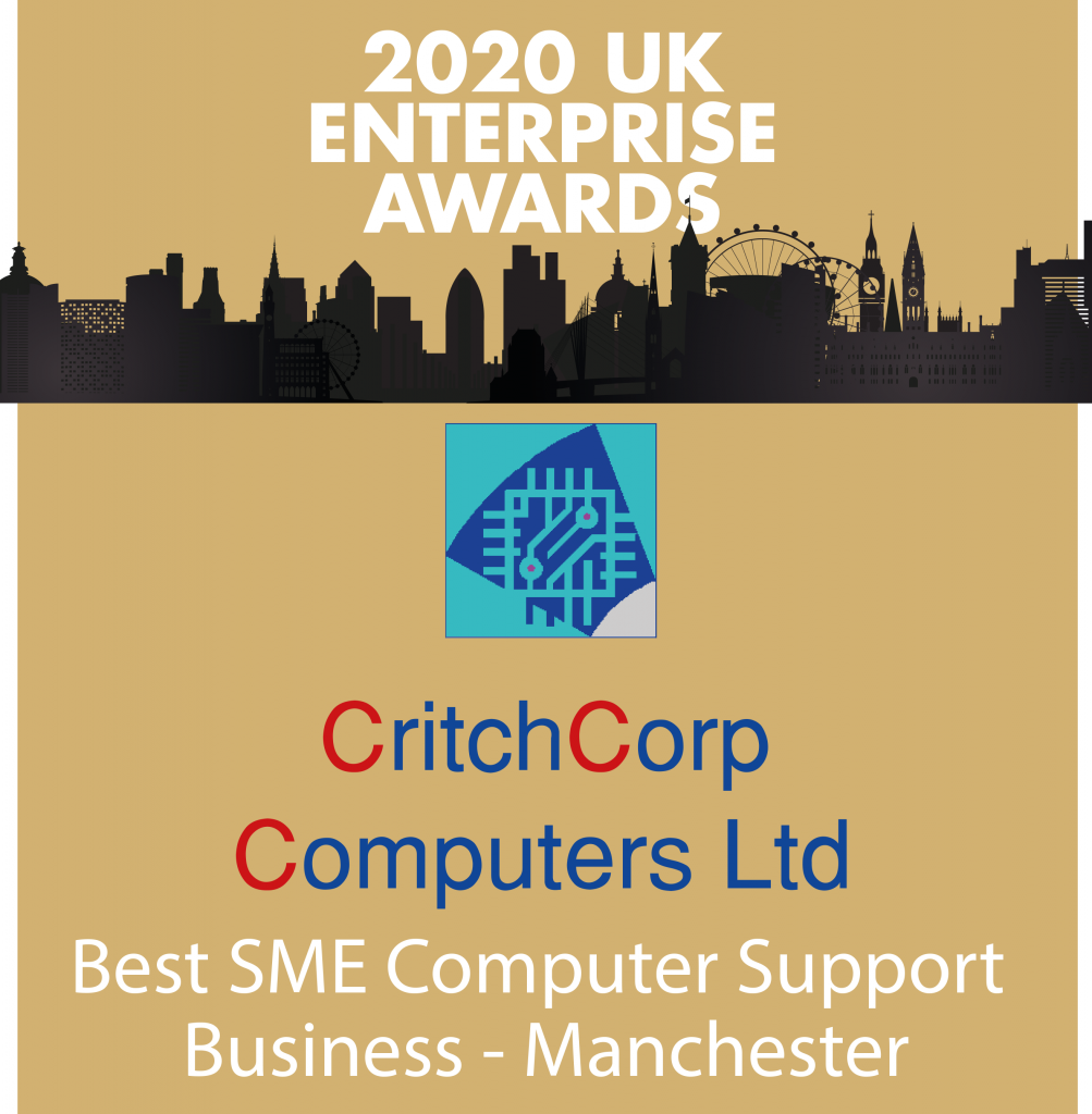 Winner of the 2020 UK Enterprise awards - CritchCorp Computers Ltd